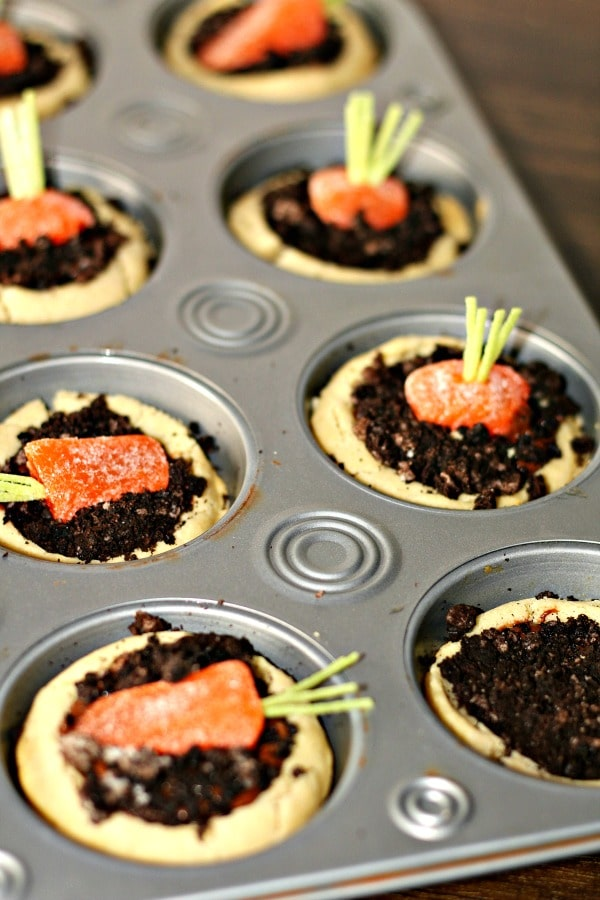 Carrot patch cookie cups; candy carrots inside dirt made of chocolate inside muffin pan