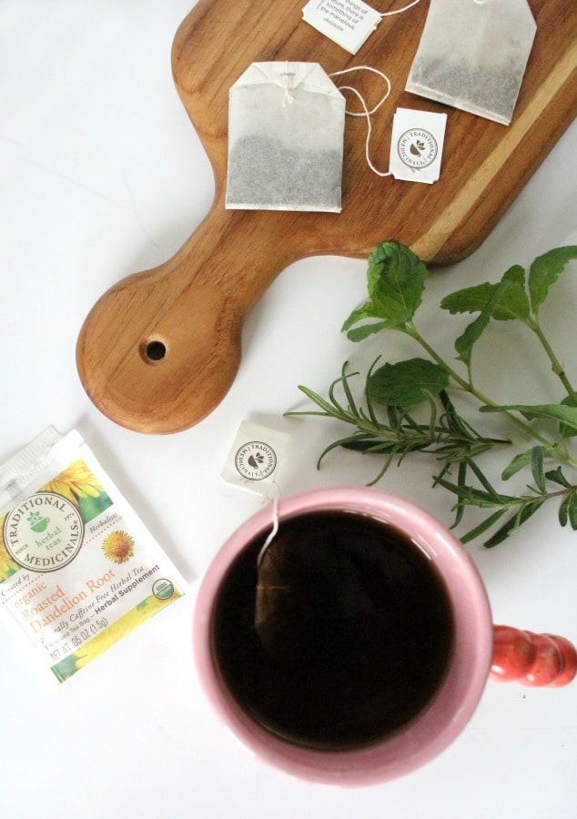 organic herbal tea cup with herbs
