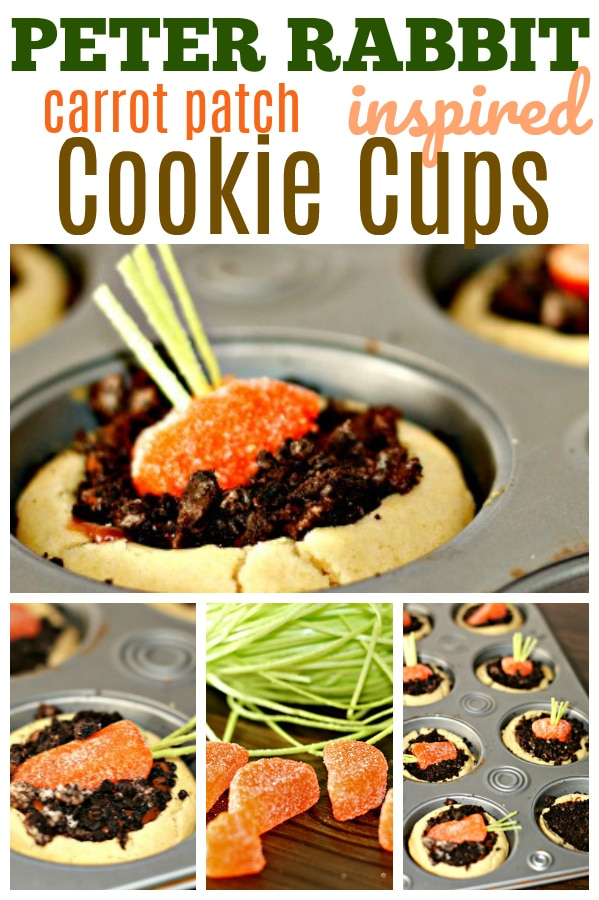 Carrot Patch Cookie Cups - candy carrots in dirt pudding inside a cookie cup