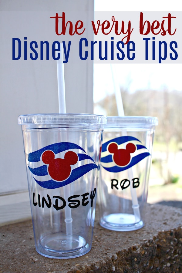 clear cups with disney cruise line logo