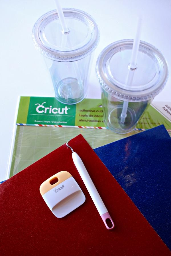 glitter vinyl to make diy disney cruise cups