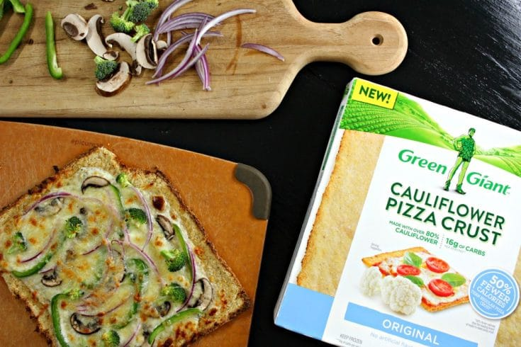 Low Carb Veggie Pizza Made with Cauliflower Pizza Crust