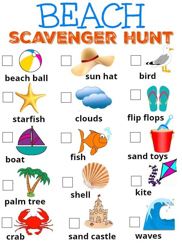 beach scavenger hunt for kids