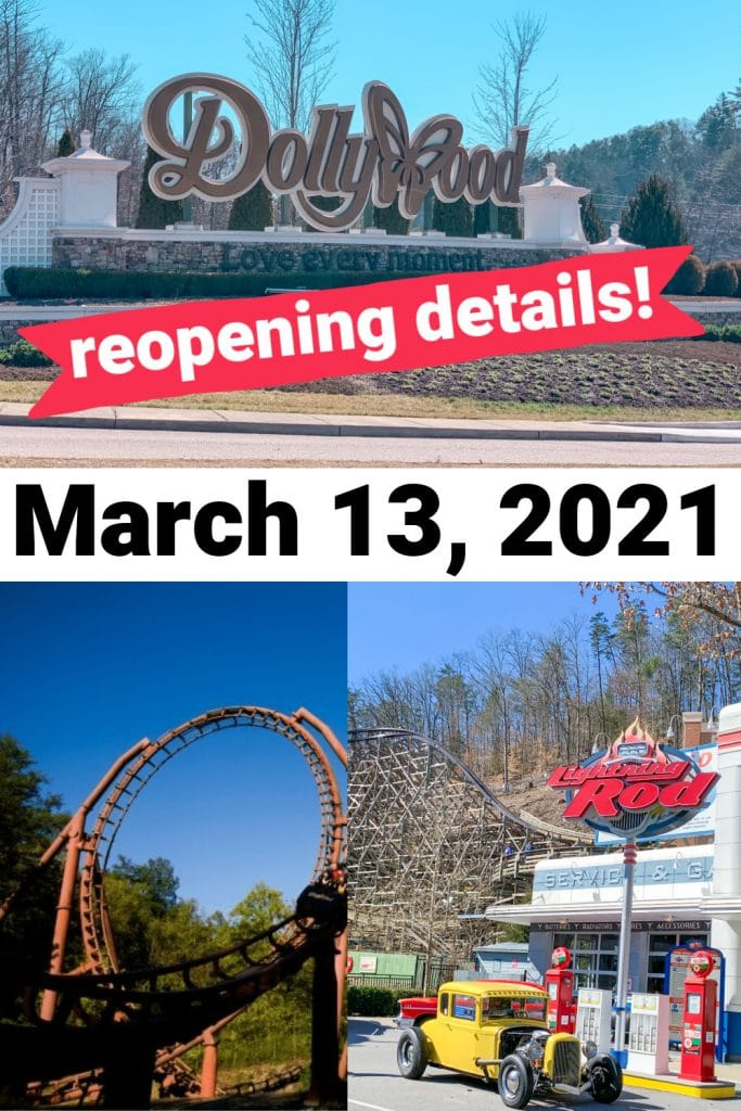 dollywood sign, rollercoasters with text dollywood is reopening