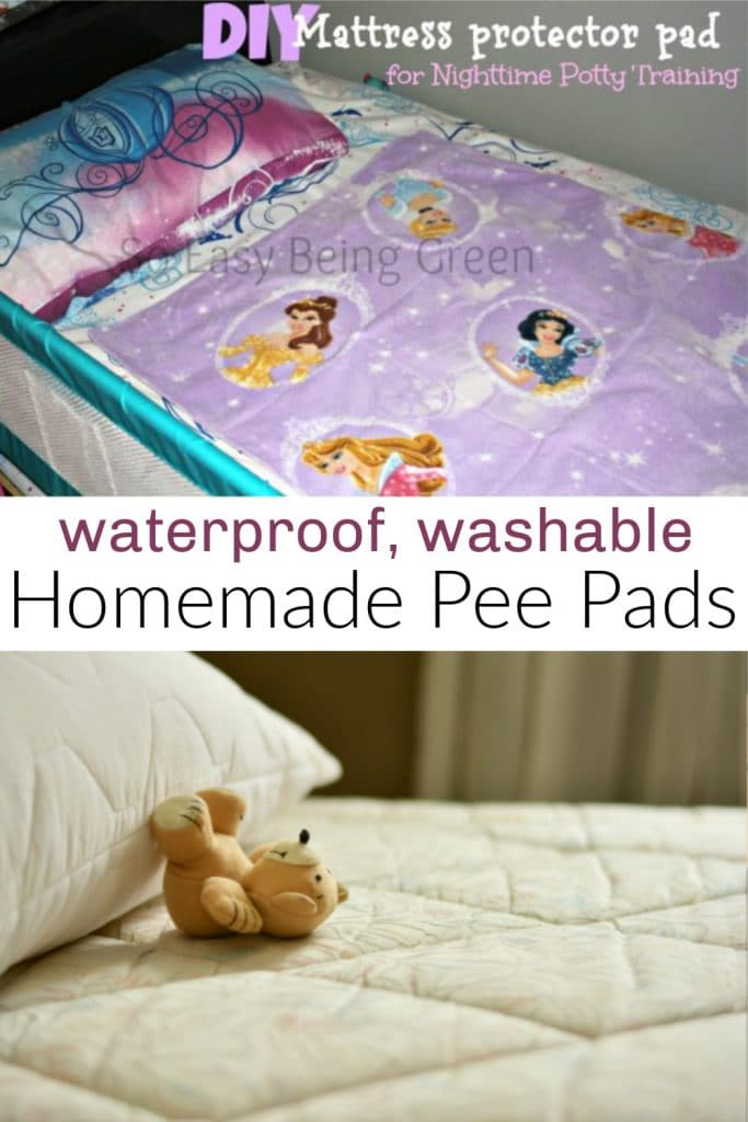 photo collage of mattress with teddy bear and pee pad with princesses on bed