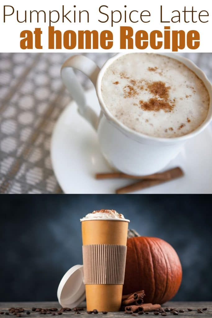 how to make a pumpkin spice latte at home with psl on plate and cup of coffee with pumpkin behind