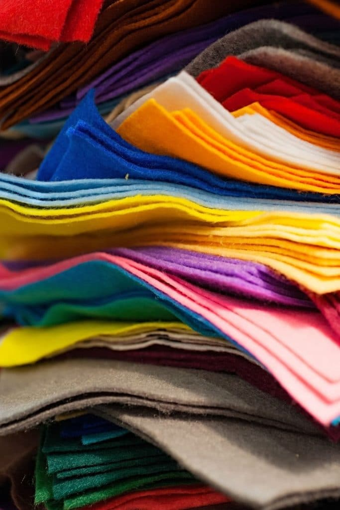 colorful felt fabric stack