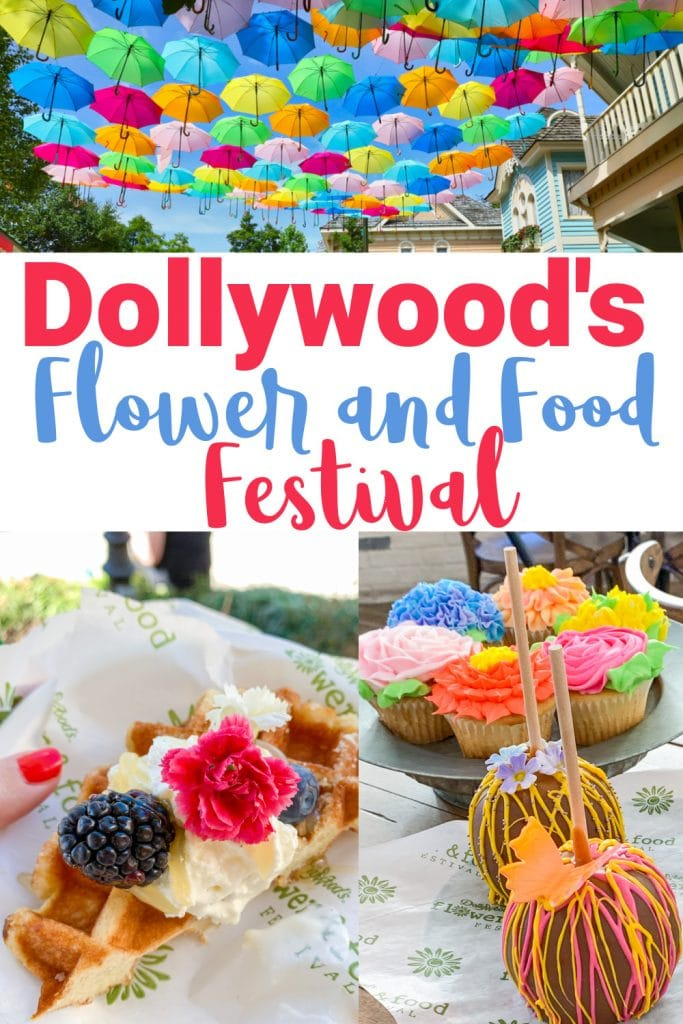 umbrellas in sky and food with flowers with text dollywood flower and food festival