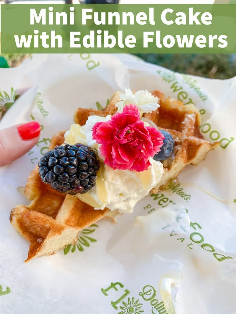mini funnel cake with cream berries and edible pink flower