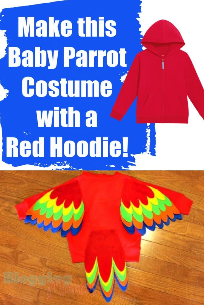red hoodie into a baby parrot costume with colorful feathers