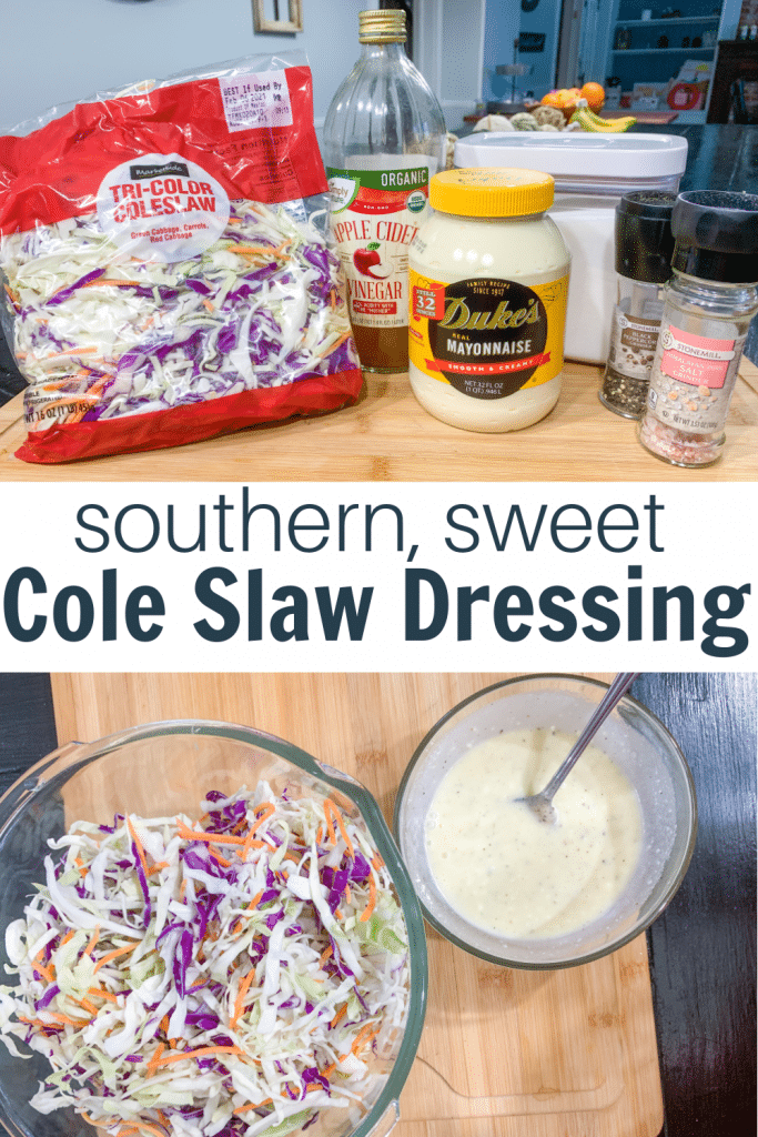 coleslaw ingredients with text how to make hot dog coleslaw