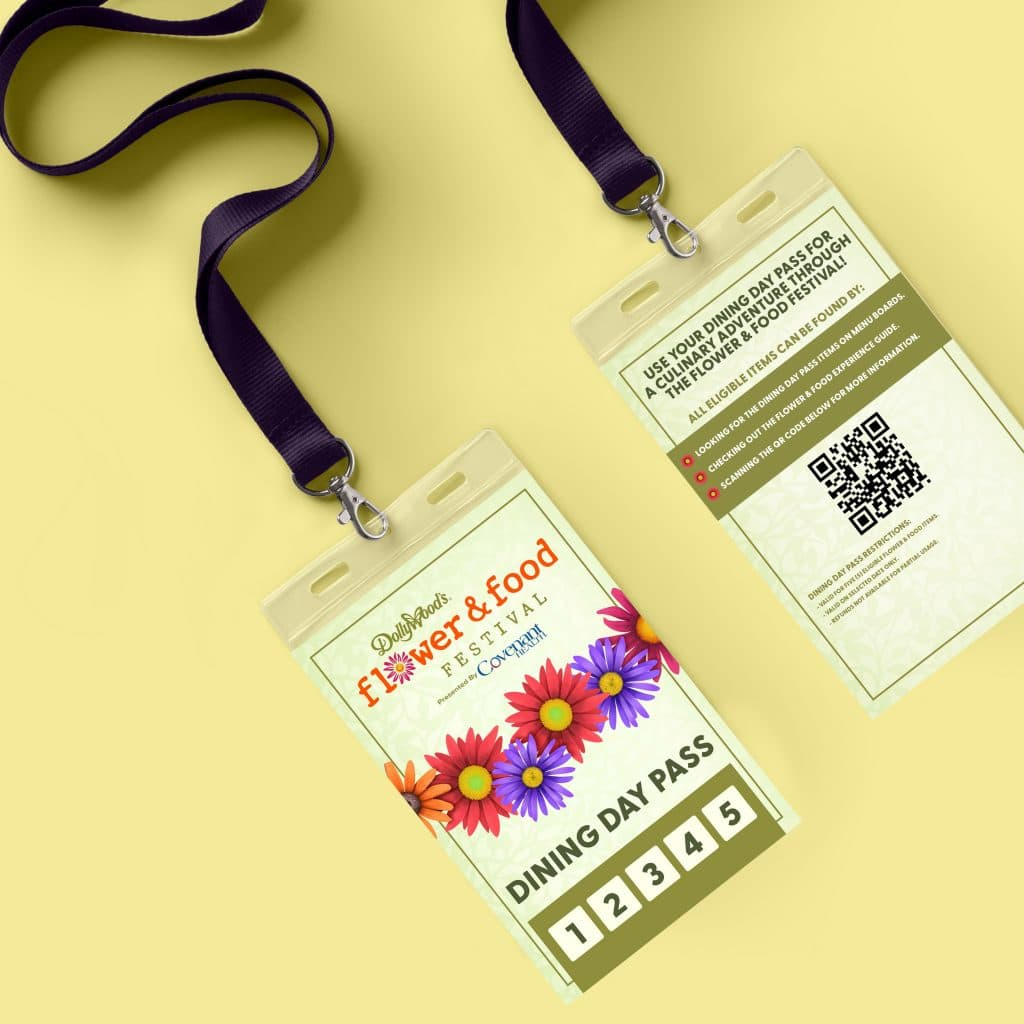 design of dollywood flower and food festival dining day pass