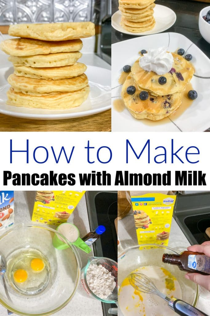 collage of how to make pancakes with almond milk