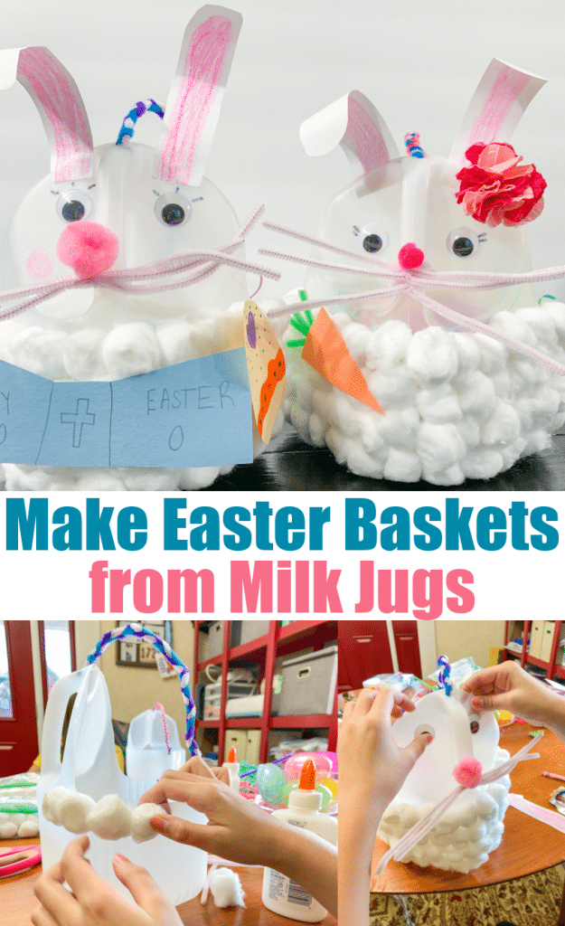 how to make easter baskets from milk jugs with process photos